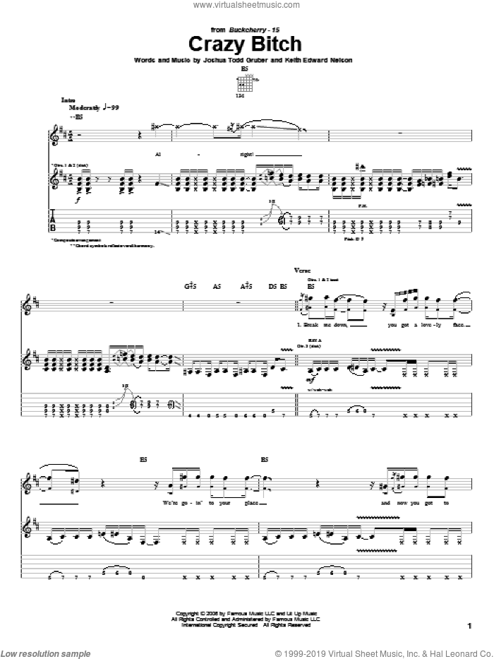 Crazy Bitch sheet music for guitar (tablature) by Keith Edward Nelson and Buckcherry. Score Image Preview.