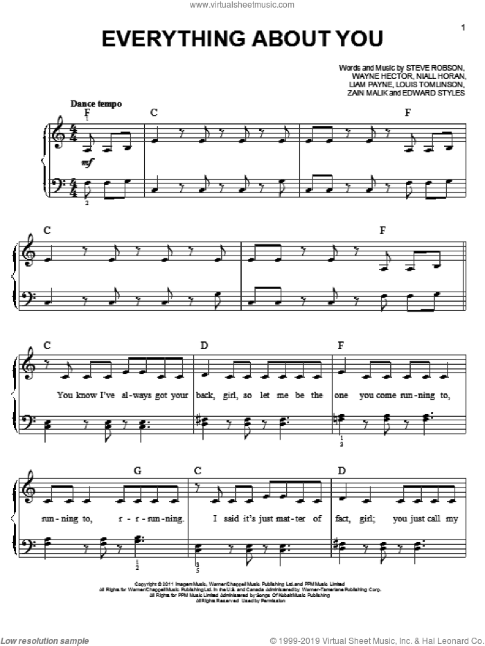 Everything About You sheet music for piano solo by One Direction. Score Image Preview.