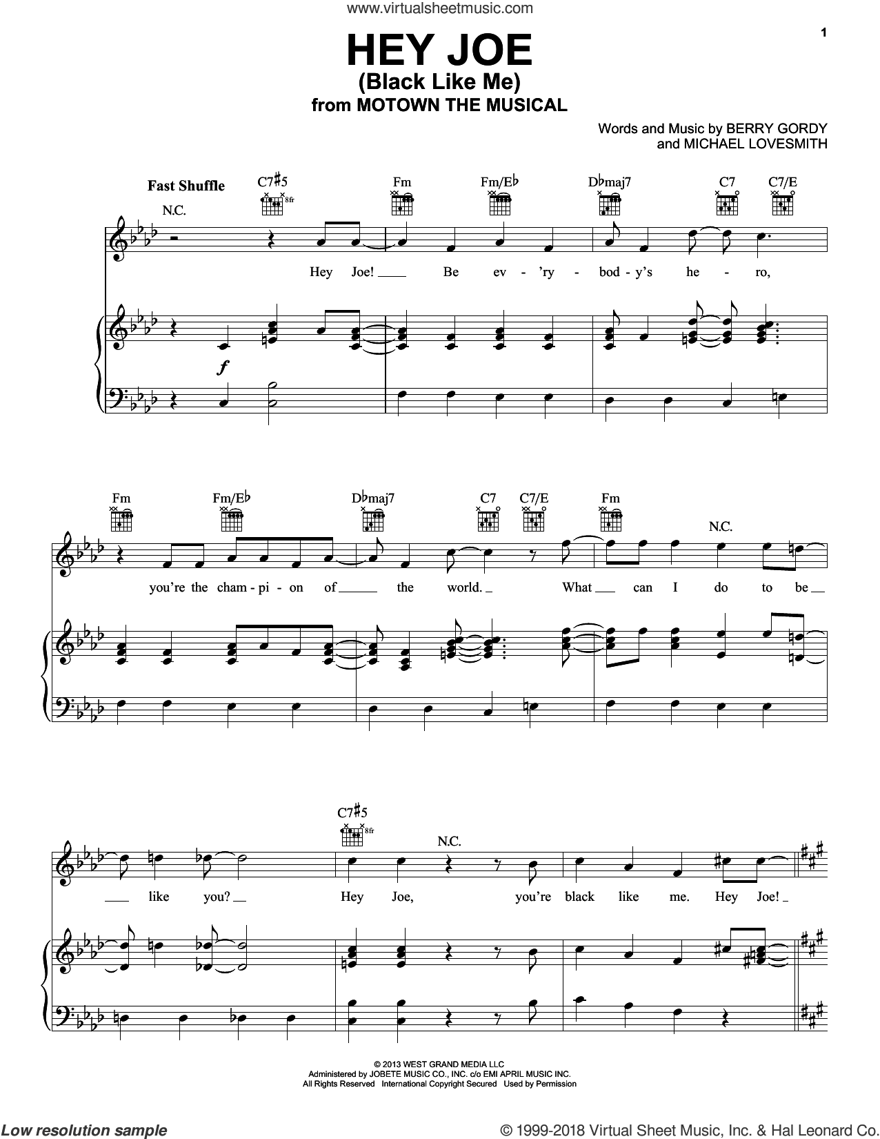 Hey Joe (Black Like Me) sheet music for voice, piano or guitar by Berry Gordy. Score Image Preview.