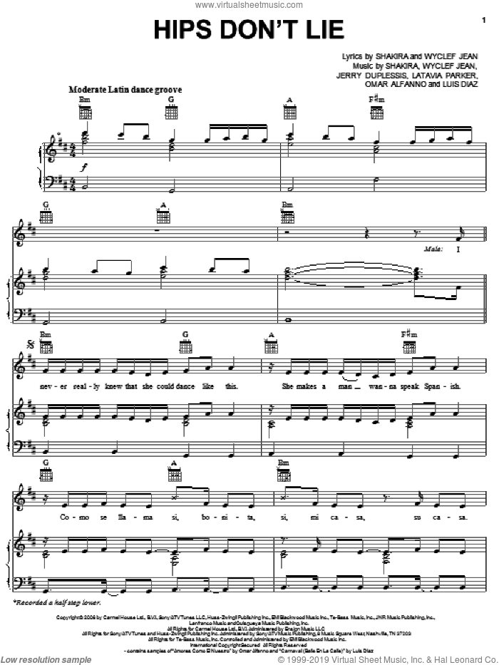 Hips Don't Lie sheet music for voice, piano or guitar by Shakira featuring Wyclef Jean, Jerry Duplessis, Latavia Parker, Omar Alfanno, Shakira and Wyclef Jean. Score Image Preview.