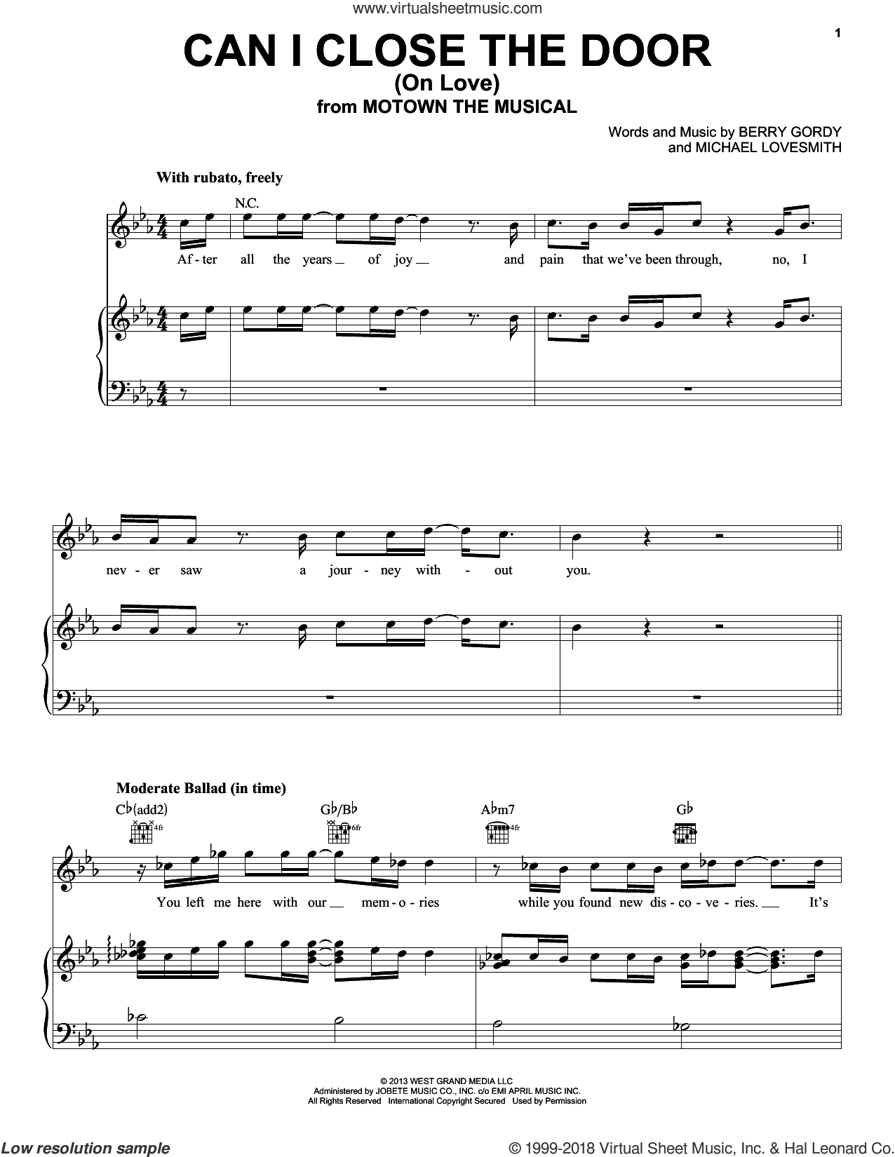 Can I Close The Door (On Love) sheet music for voice, piano or guitar by Michael Lovesmith and Berry Gordy. Score Image Preview.