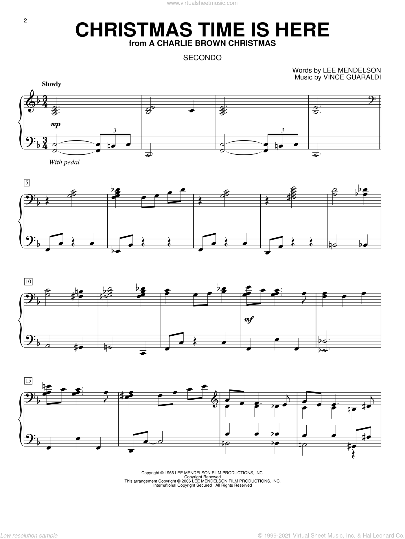 Christmas Time Is Here sheet music for piano four hands (duets) by Lee Mendelson and Vince Guaraldi. Score Image Preview.