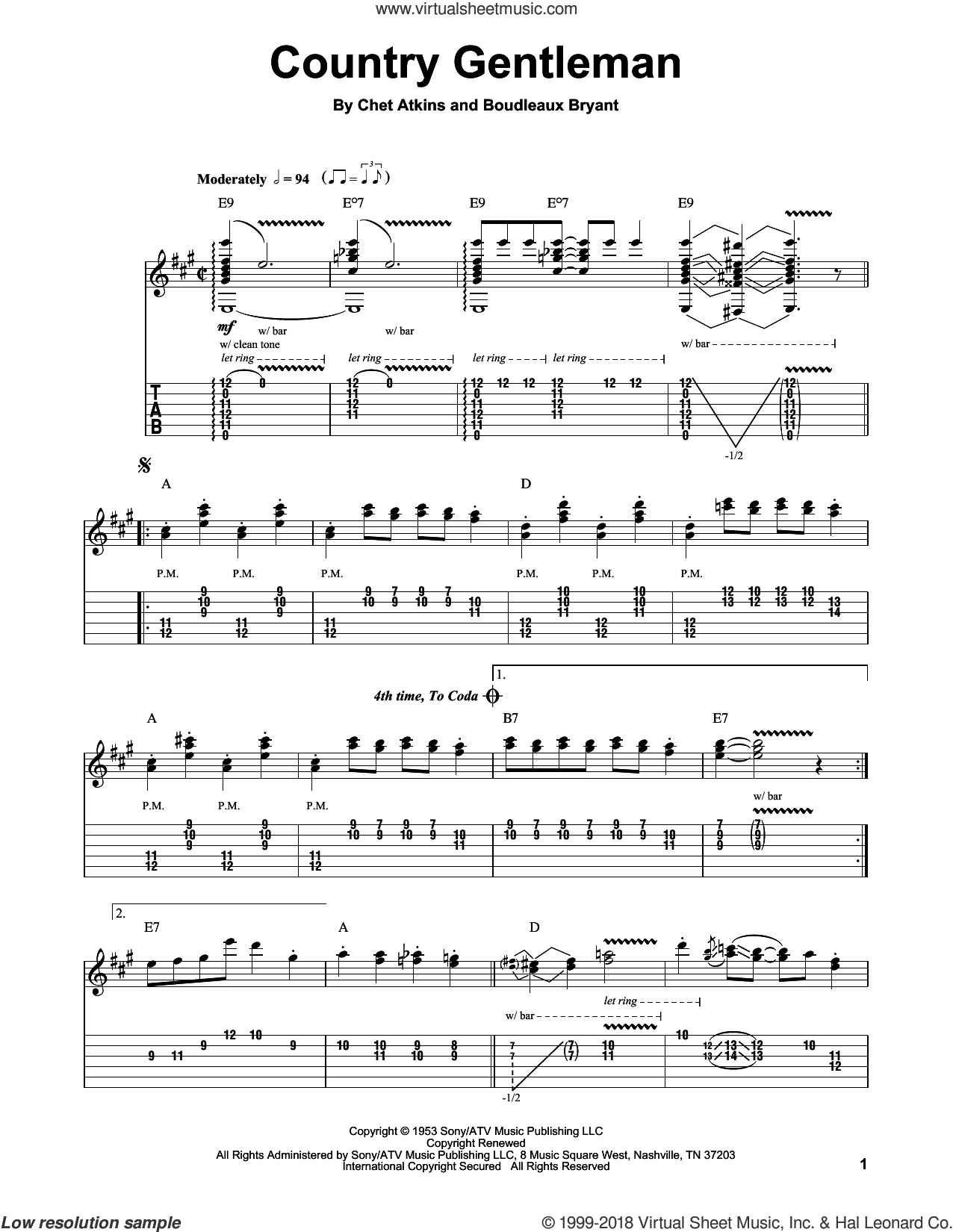 Country Gentleman sheet music for guitar (tablature, play-along) by Chet Atkins. Score Image Preview.