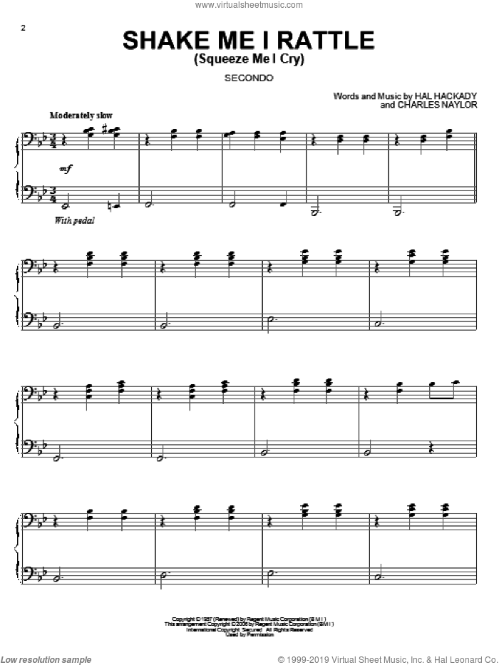 Shake Me I Rattle (Squeeze Me I Cry) sheet music for piano four hands by Marion Worth, Charles Naylor and Hal Clayton Hackady, intermediate skill level