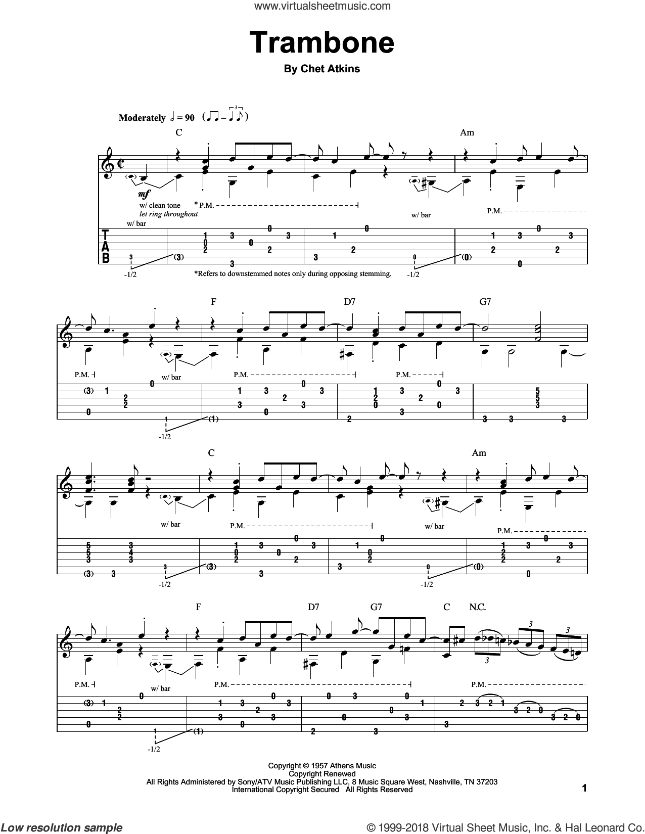 Trambone sheet music for guitar (tablature, play-along) by Chet Atkins, intermediate guitar (tablature, play-along). Score Image Preview.