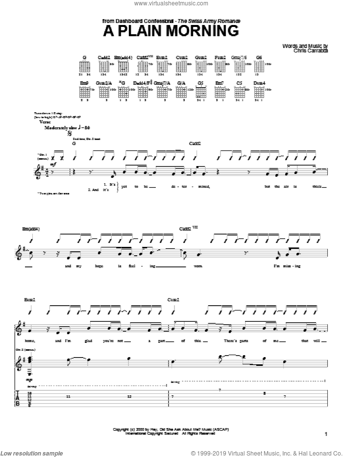 A Plain Morning sheet music for guitar (tablature) by Dashboard Confessional. Score Image Preview.