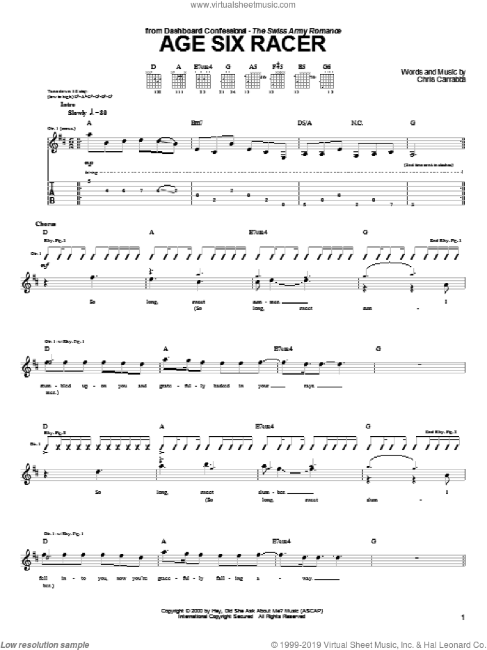 Age Six Racer sheet music for guitar (tablature) by Dashboard Confessional, intermediate. Score Image Preview.
