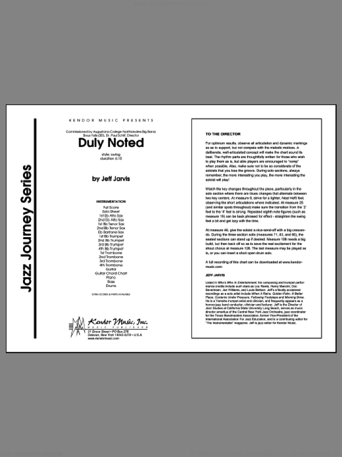 Duly Noted (COMPLETE) sheet music for jazz band by Jarvis, intermediate jazz band. Score Image Preview.