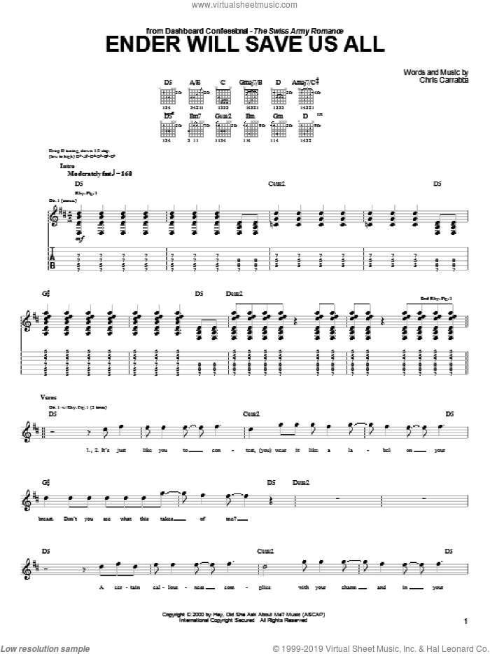 Ender Will Save Us All sheet music for guitar (tablature) by Dashboard Confessional and Chris Carrabba, intermediate skill level