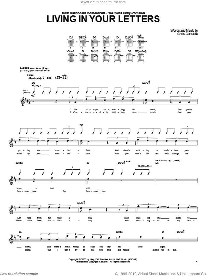 Living In Your Letters sheet music for guitar (tablature) by Dashboard Confessional and Chris Carrabba, intermediate skill level