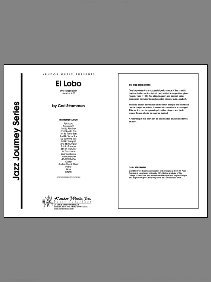 El Lobo (COMPLETE) sheet music for jazz band by Carl Strommen, intermediate skill level