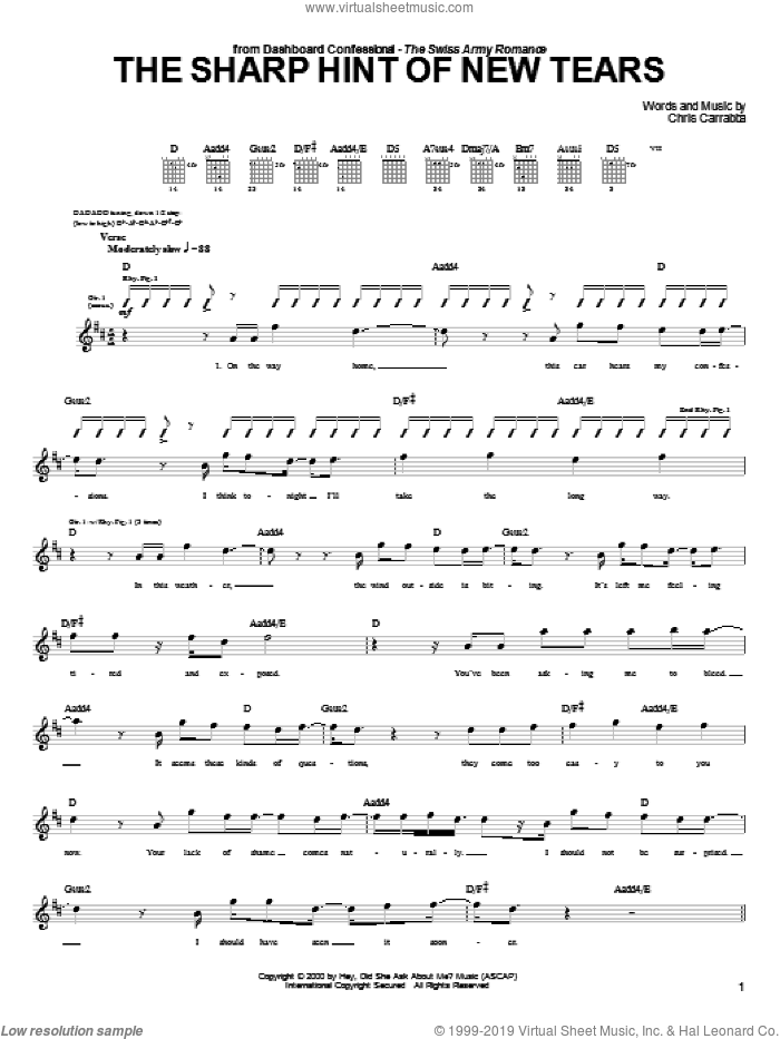 The Sharp Hint Of New Tears sheet music for guitar (tablature) by Chris Carrabba and Dashboard Confessional. Score Image Preview.