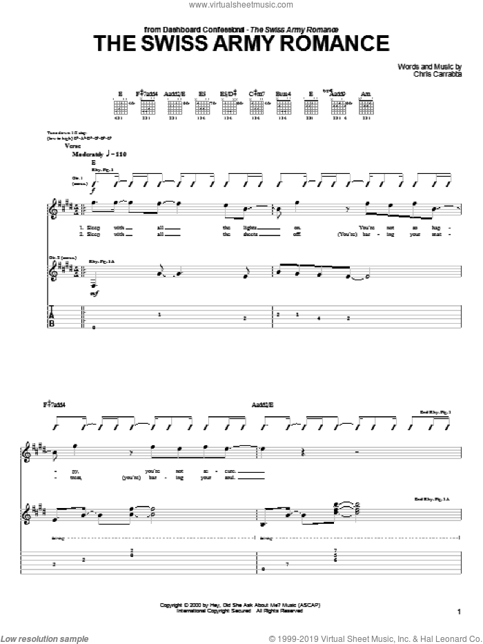 The Swiss Army Romance sheet music for guitar (tablature) by Dashboard Confessional. Score Image Preview.
