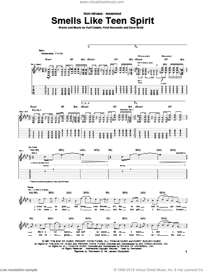 Smells Like Teen Spirit sheet music for guitar (tablature) by Nirvana, intermediate guitar (tablature). Score Image Preview.