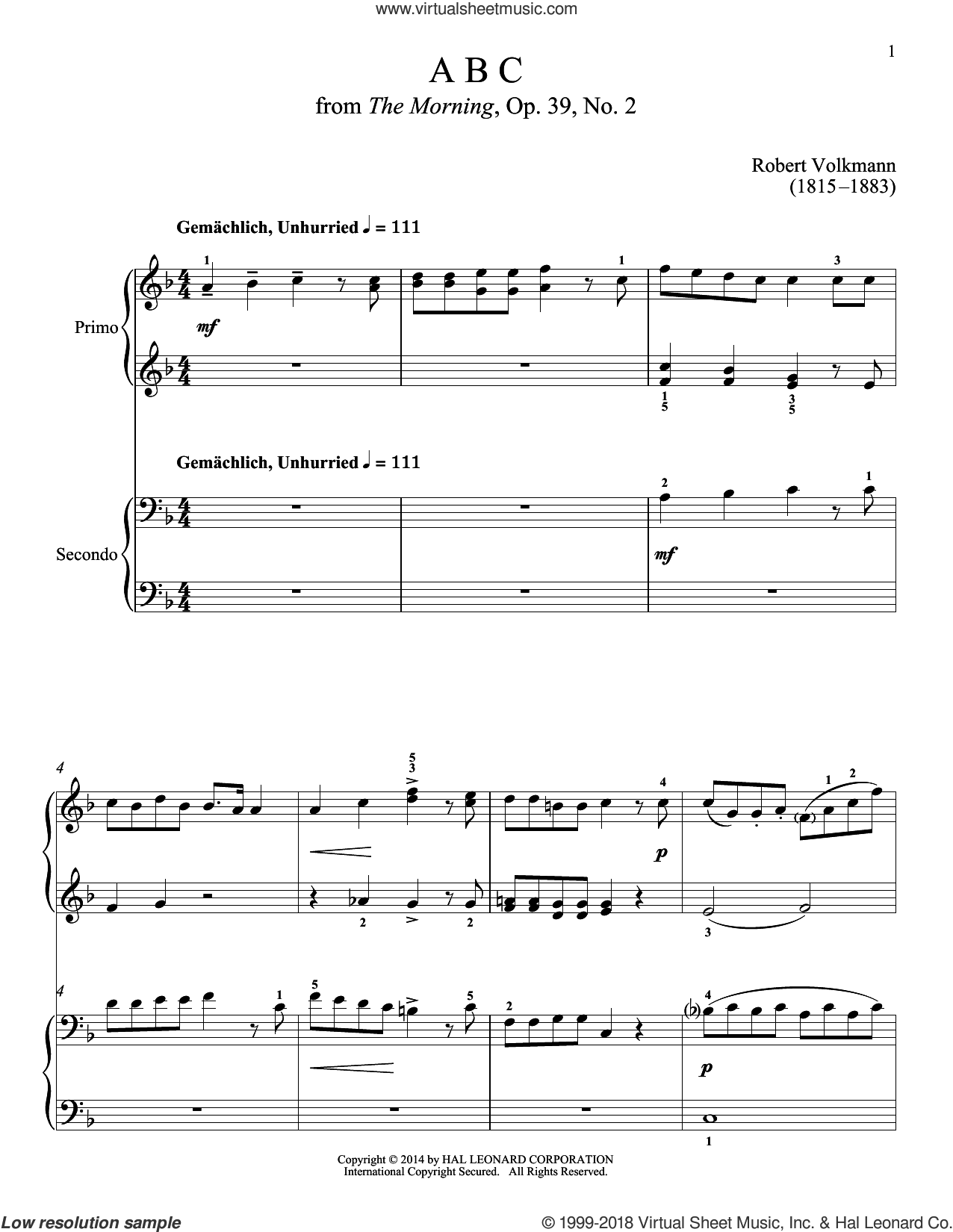 ABC sheet music for piano four hands by Bradley Beckman, Carolyn True and Robert Volkmann, classical score, intermediate skill level