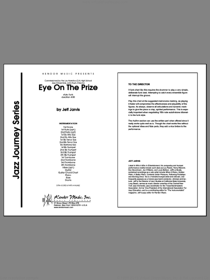 Eye On The Prize (COMPLETE) sheet music for jazz band by Jarvis, intermediate jazz band. Score Image Preview.