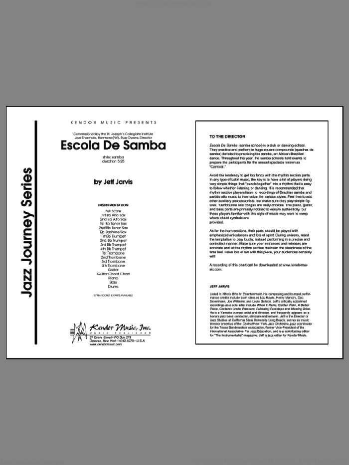 Escola De Samba (COMPLETE) sheet music for jazz band by Jarvis, intermediate skill level
