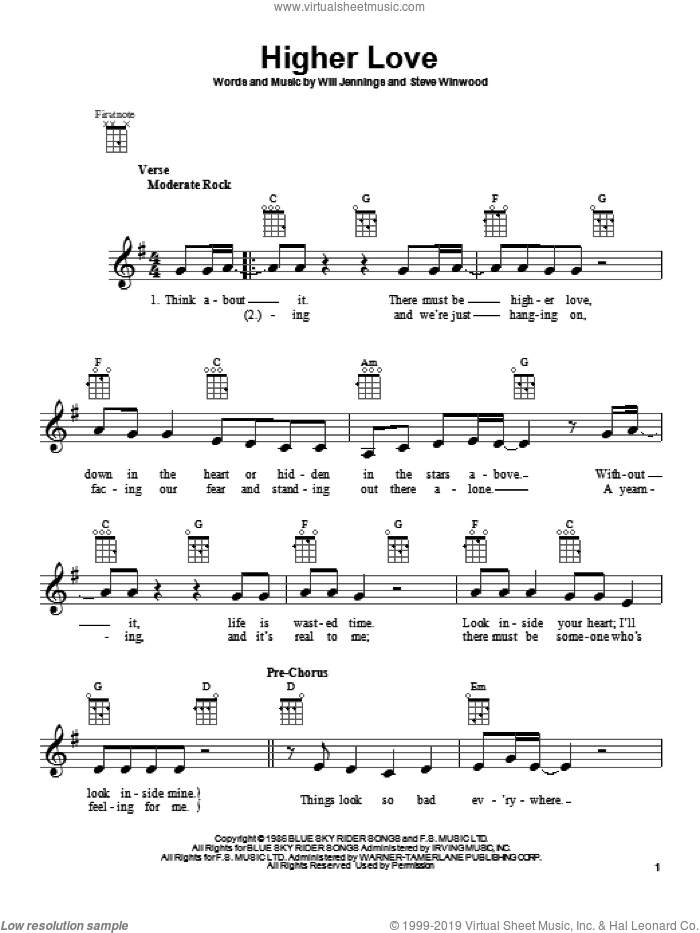 Higher Love sheet music for ukulele by Steve Winwood, intermediate. Score Image Preview.