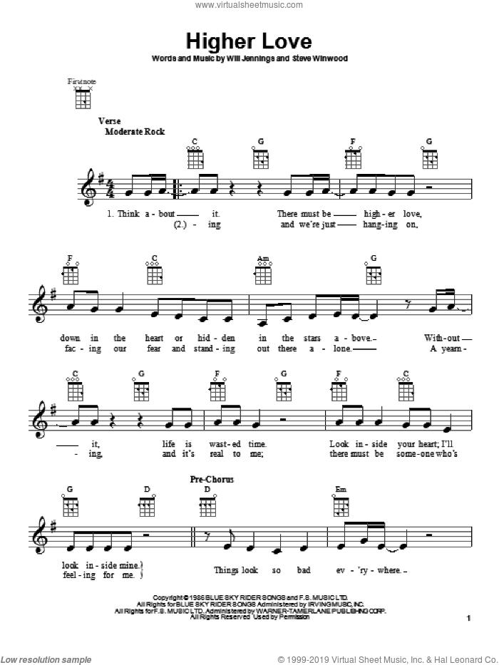 Higher Love sheet music for ukulele by Steve Winwood, intermediate skill level