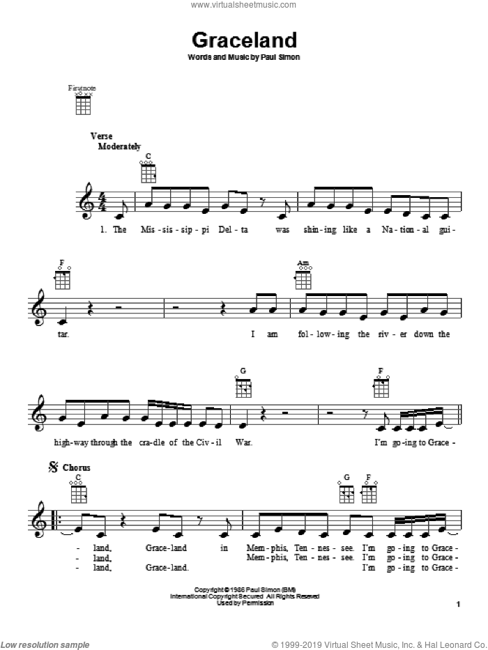 Graceland sheet music for ukulele by Paul Simon. Score Image Preview.