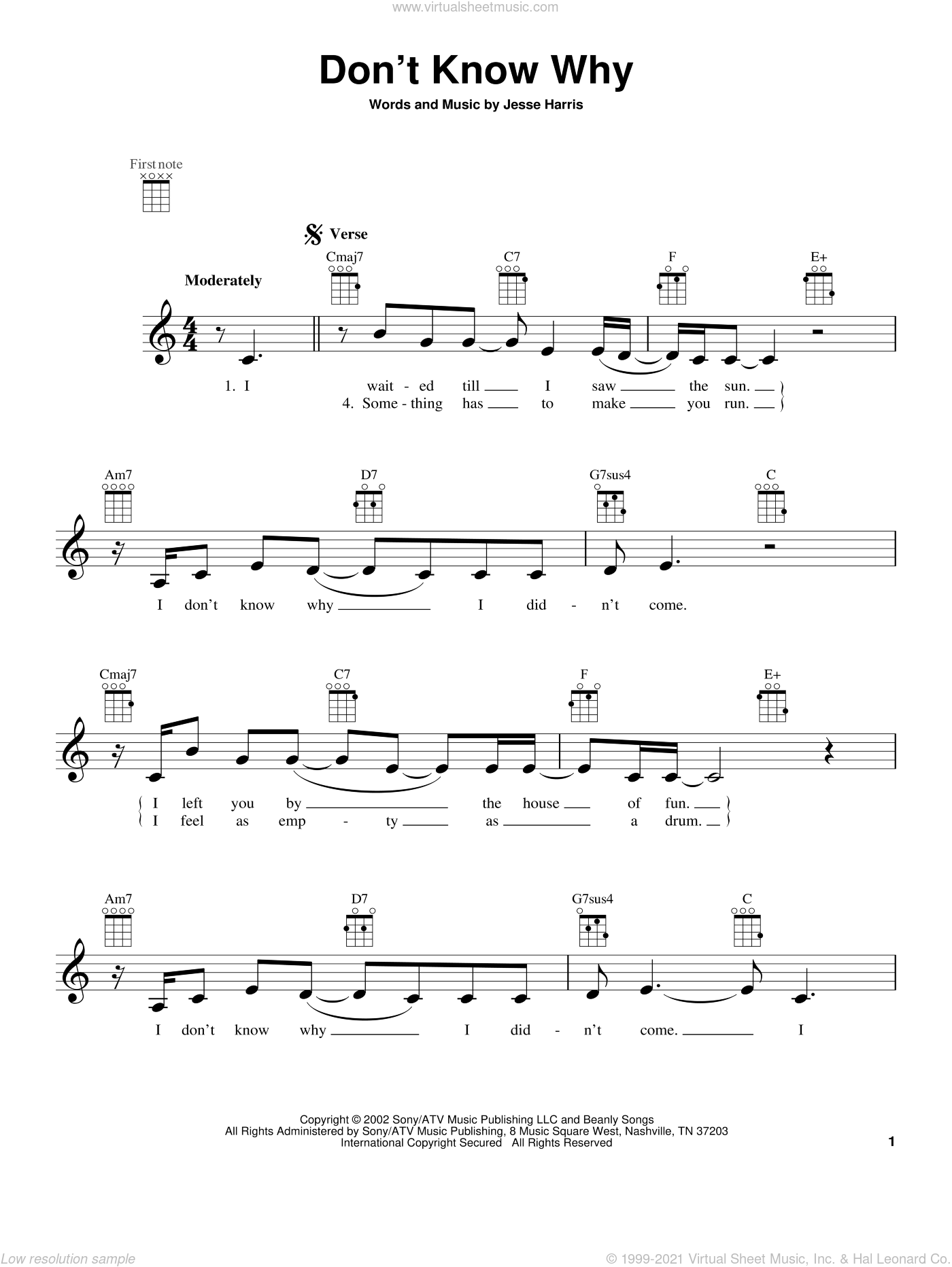 Don't Know Why sheet music for ukulele by Norah Jones, intermediate skill level