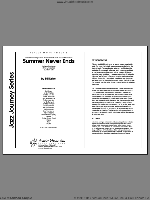 Summer Never Ends (COMPLETE) sheet music for jazz band by Liston