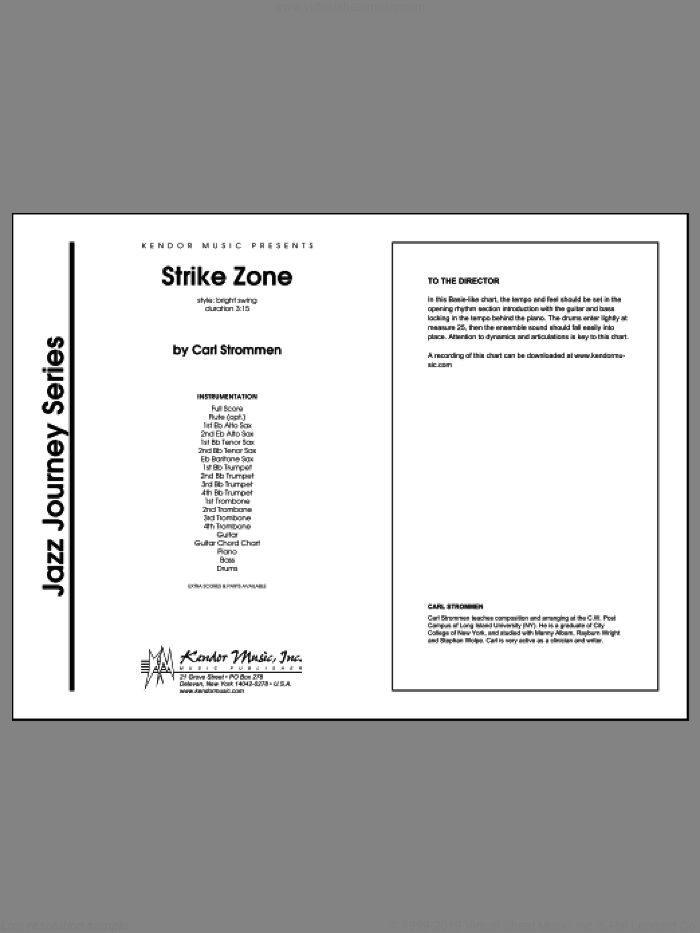Strike Zone (COMPLETE) sheet music for jazz band by Carl Strommen, intermediate skill level