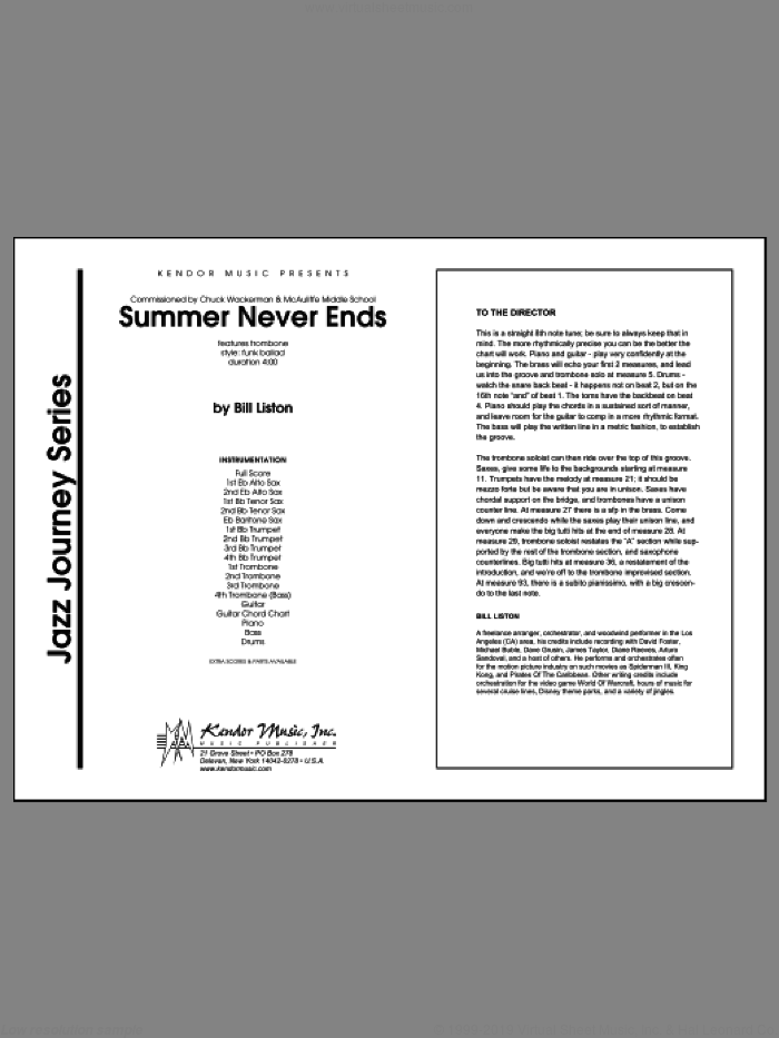 Summer Never Ends (COMPLETE) sheet music for jazz band by Liston, intermediate. Score Image Preview.