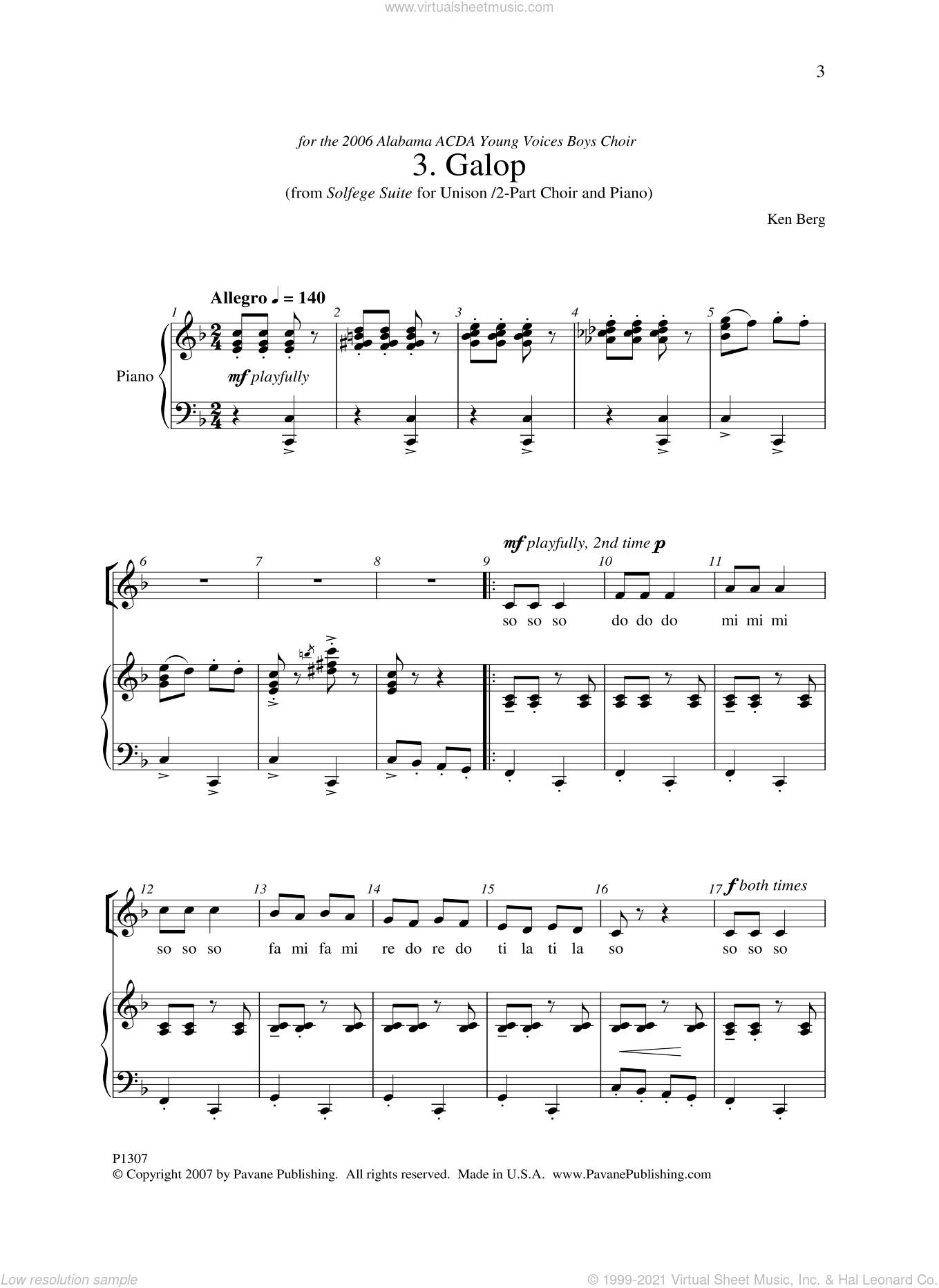 Galop sheet music for choir and piano by Ken Berg