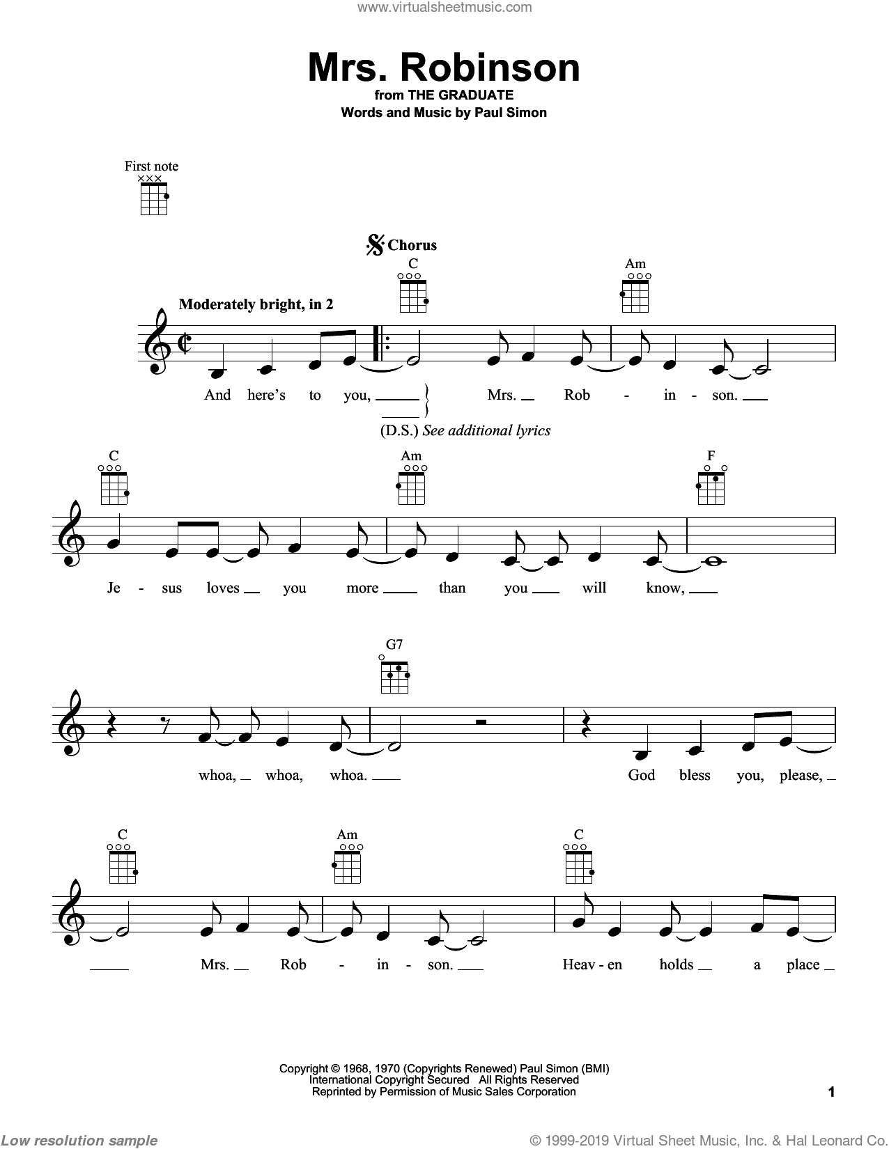 Mrs. Robinson sheet music for ukulele by Simon & Garfunkel. Score Image Preview.
