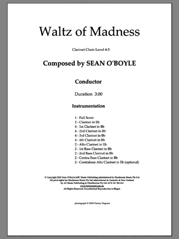 Waltz Of Madness (COMPLETE) sheet music for clarinet ensemble by Sean O'Boyle, intermediate