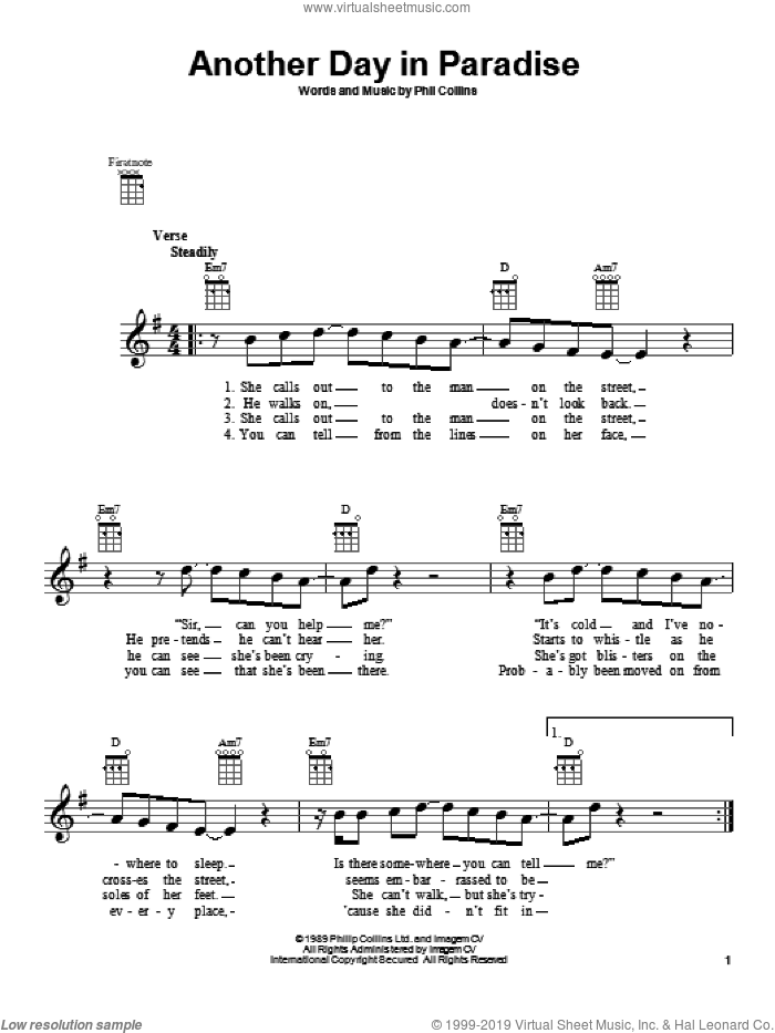 Another Day In Paradise sheet music for ukulele by Phil Collins. Score Image Preview.