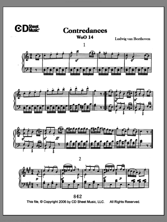 Contradances, Woo 14 sheet music for piano solo by Ludwig van Beethoven, classical score, intermediate skill level