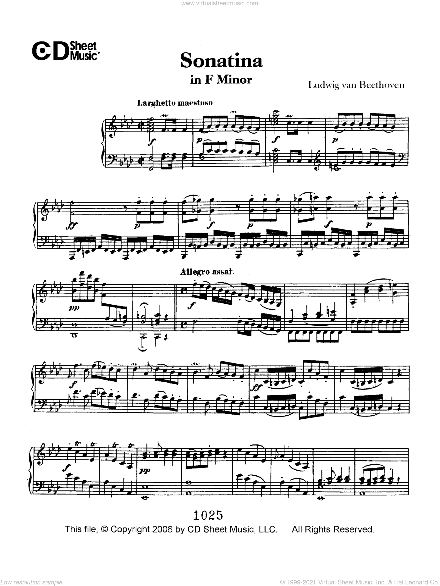 Sonatina in  F Minor sheet music for piano solo by Ludwig van Beethoven, classical score, intermediate