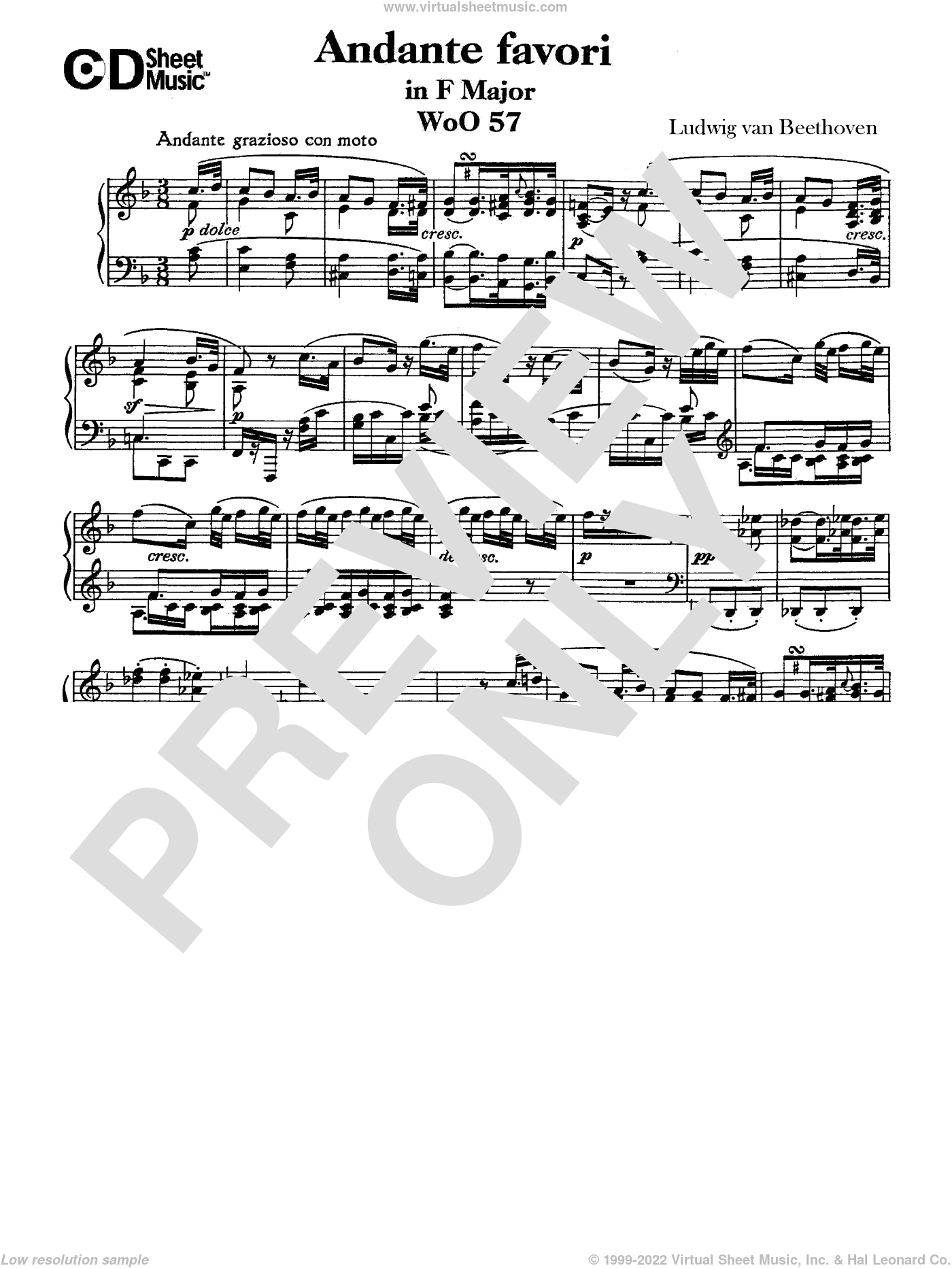 Andante Favori in F Major, WoO 57 sheet music for piano solo by Ludwig van Beethoven, classical score, intermediate piano. Score Image Preview.