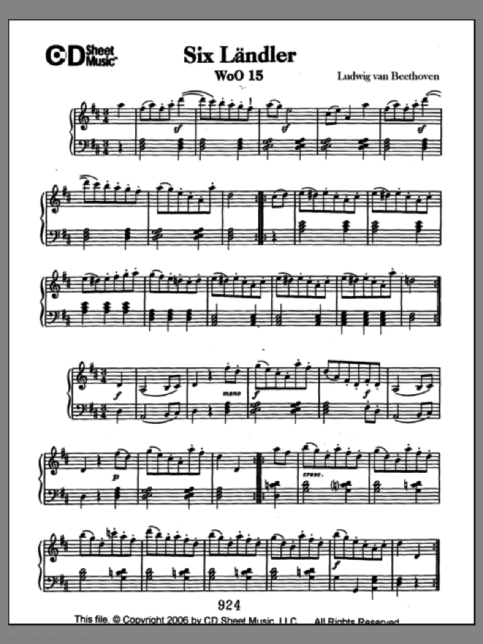 Landler (6), Woo 15 sheet music for piano solo by Ludwig van Beethoven. Score Image Preview.