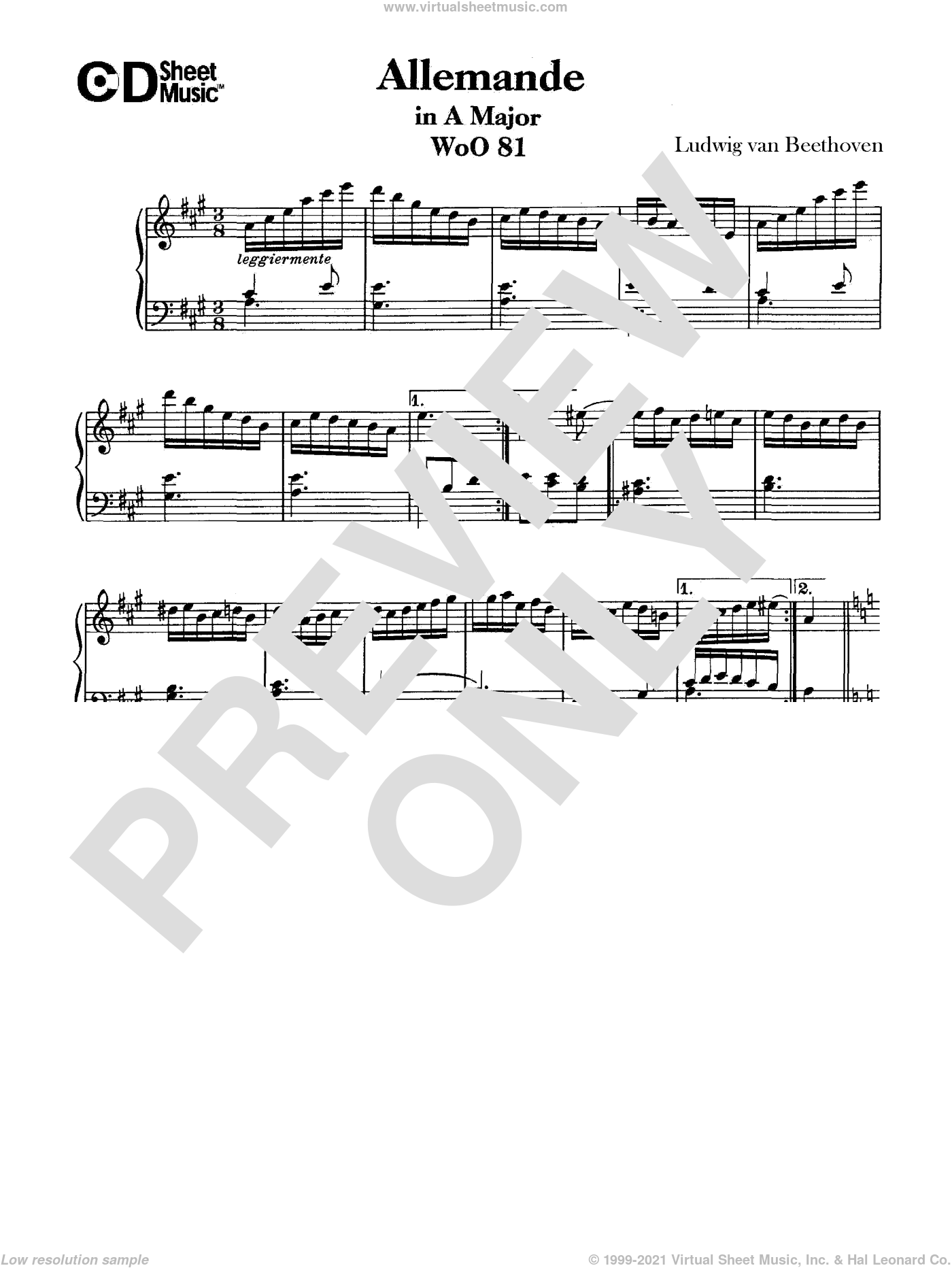 Allemande In A Major, Woo 81 sheet music for piano solo by Ludwig van Beethoven. Score Image Preview.