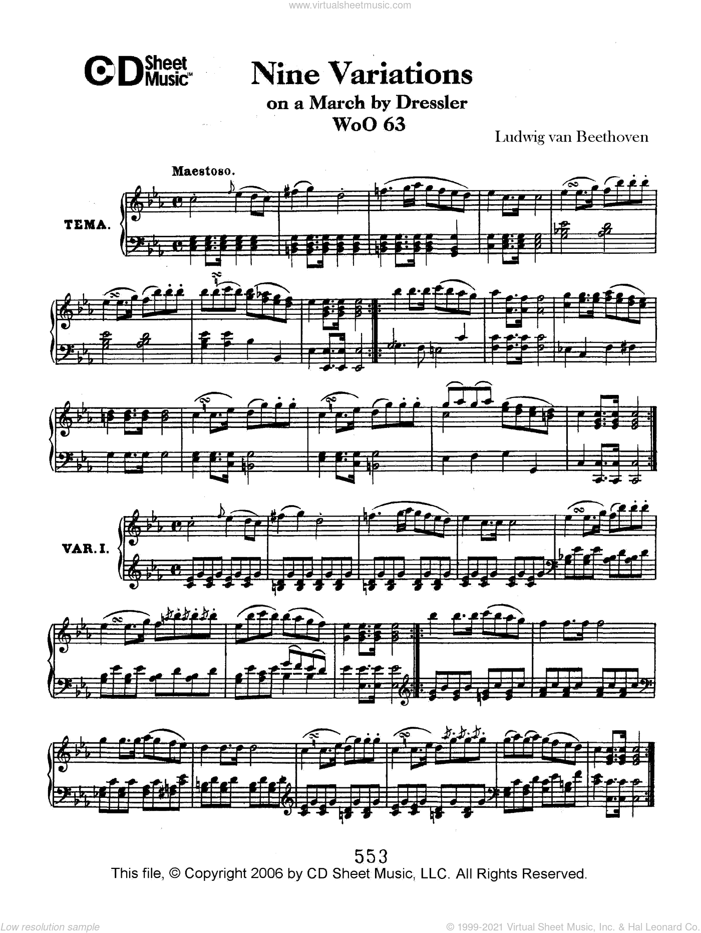 Variations (9) On A March By Dressler, Woo 63 sheet music for piano solo by Ludwig van Beethoven, classical score, intermediate. Score Image Preview.