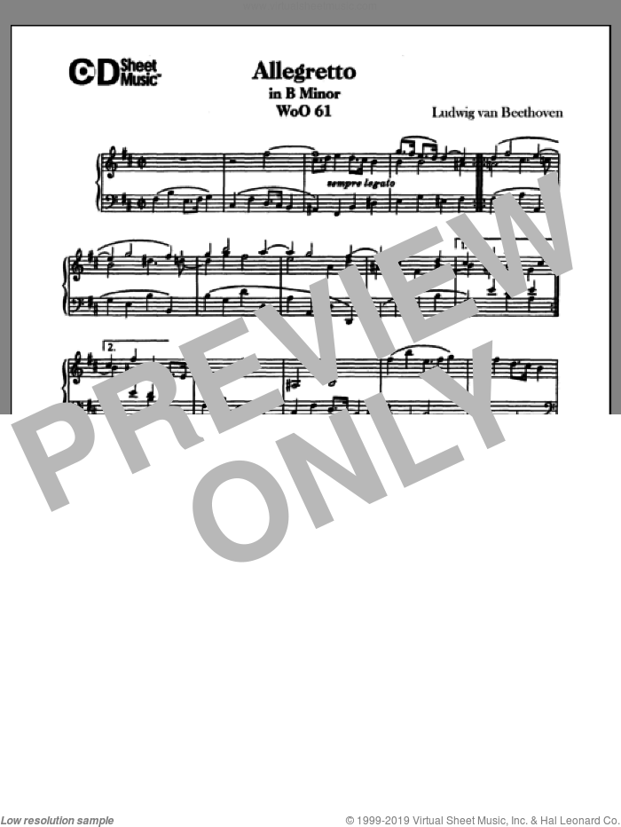 Allegretto In B Minor, Woo 61 sheet music for piano solo by Ludwig van Beethoven, classical score, intermediate piano. Score Image Preview.
