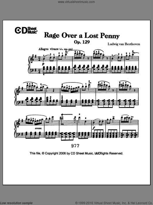 Rage Over A Lost Penny (rondo A Capriccio In G), Op. 129 sheet music for piano solo by Ludwig van Beethoven. Score Image Preview.