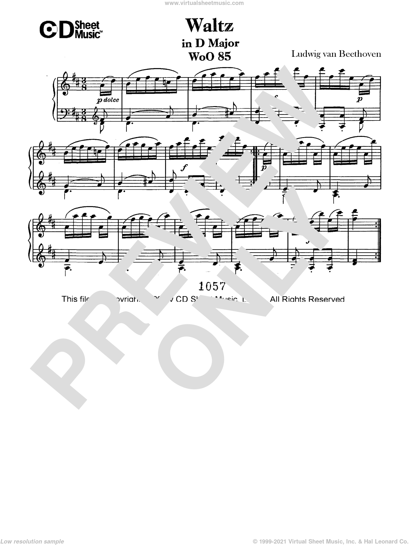 Waltz In D Major, Woo 85 sheet music for piano solo by Ludwig van Beethoven, classical score, intermediate skill level