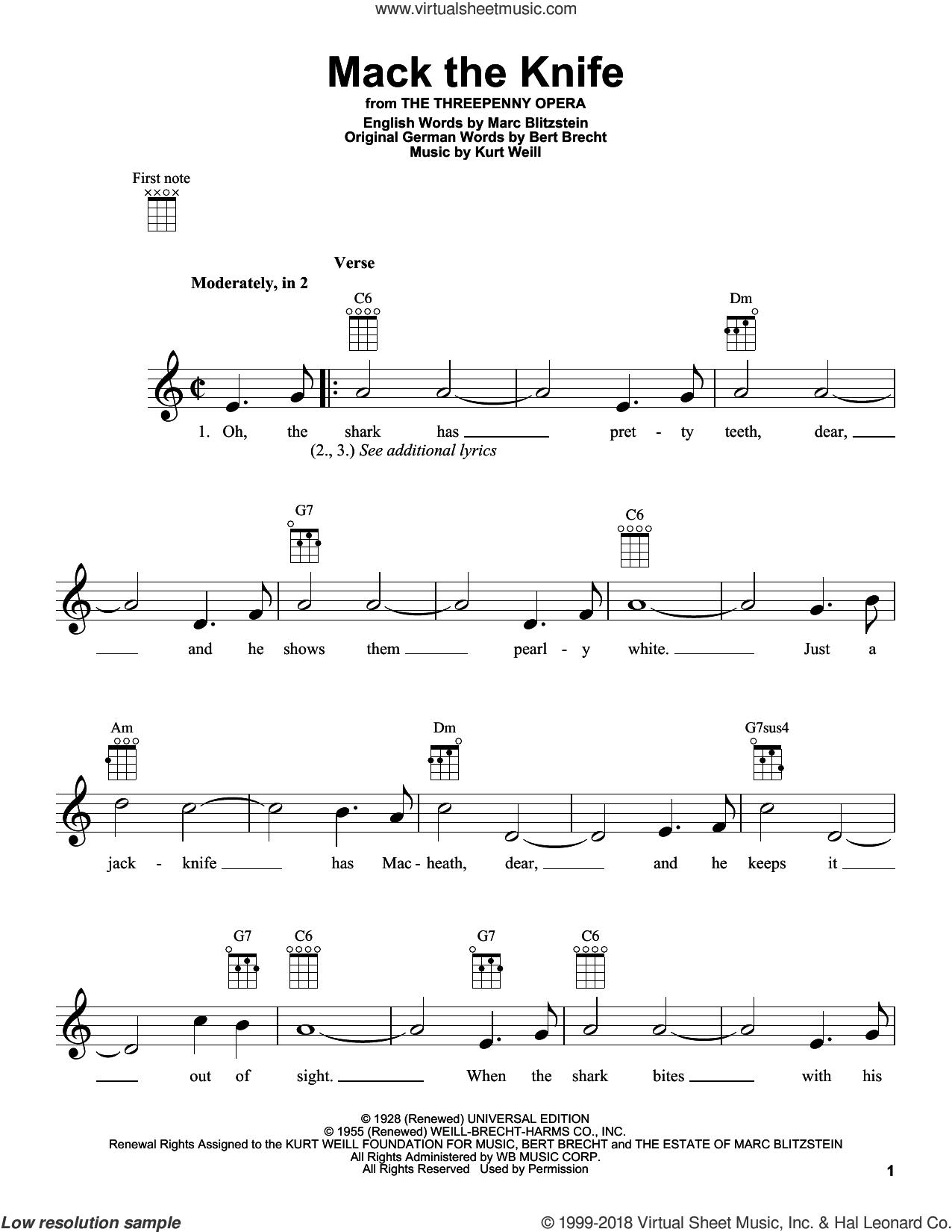Mack The Knife sheet music for ukulele by Bobby Darin, intermediate skill level
