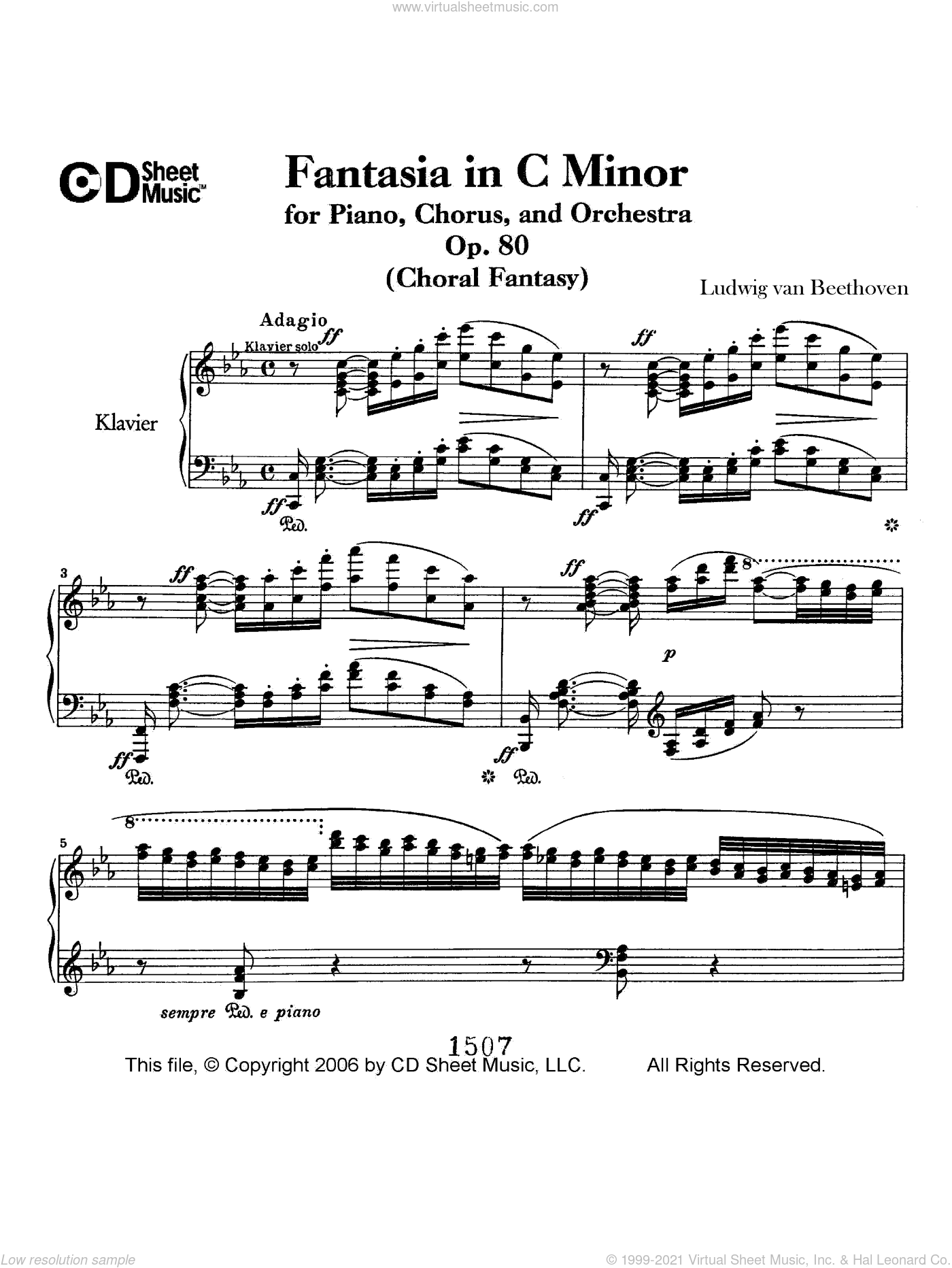 Fantasia In C Minor For Piano, Chorus, And Orchestra (choral Fantasy), Op. 80 sheet music for piano solo by Ludwig van Beethoven. Score Image Preview.