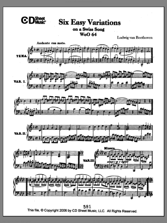 Easy Variations (6) On A Swiss Song, Woo 64 sheet music for piano solo by Ludwig van Beethoven