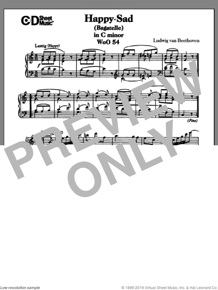 Happy-sad (bagatelle) In C Major (lustig-traurig), Woo 54 sheet music for piano solo by Ludwig van Beethoven, classical score, intermediate piano. Score Image Preview.