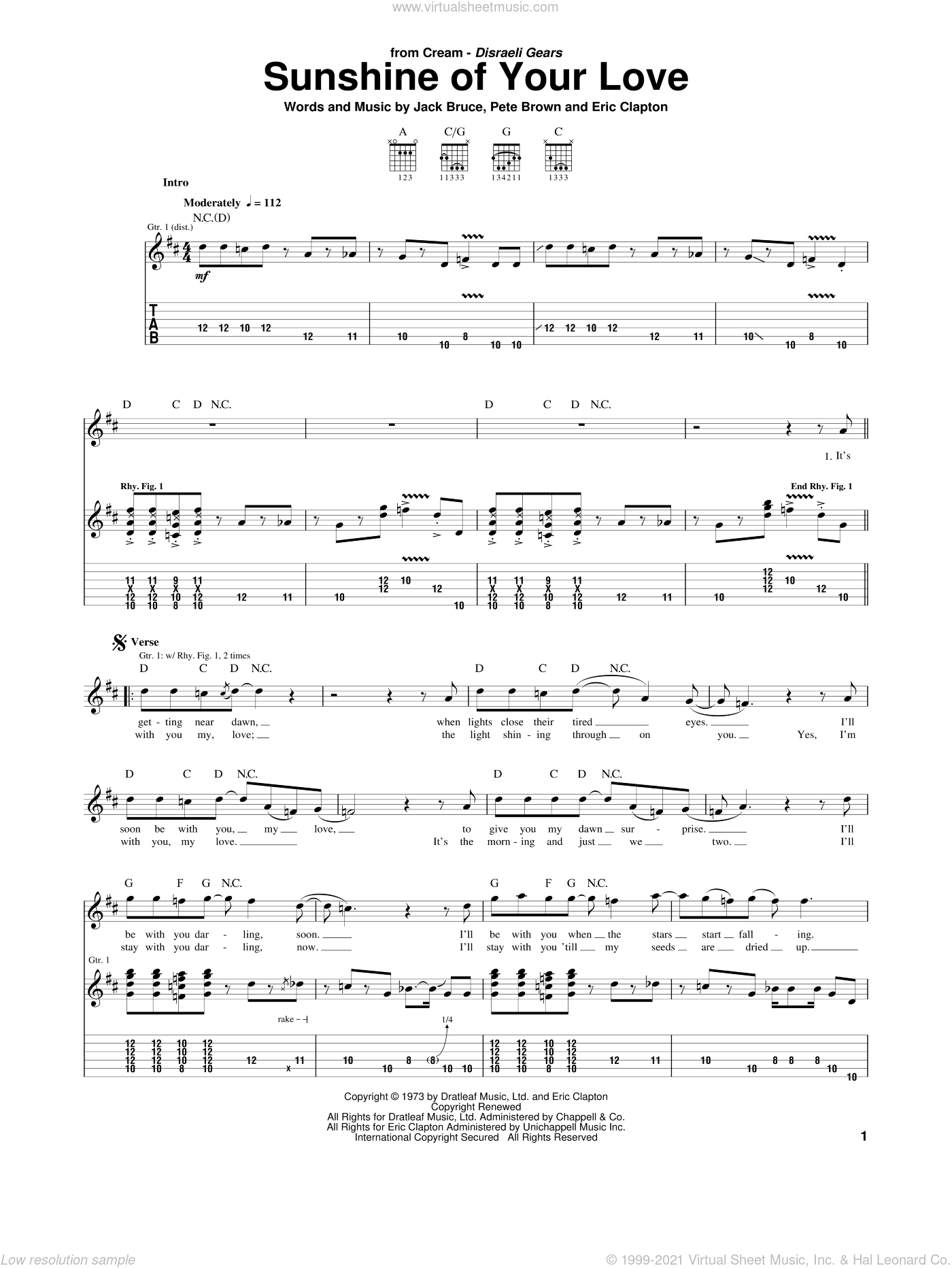 Sunshine Of Your Love sheet music for guitar (tablature) by Cream, Eric Clapton, Jack Bruce and Pete Brown, intermediate. Score Image Preview.