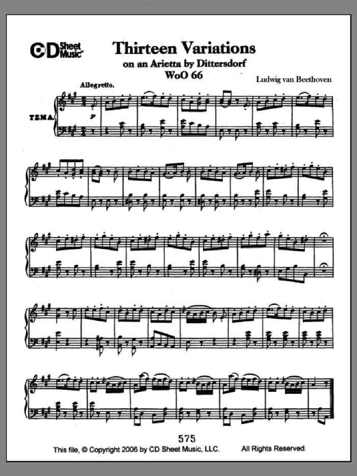 Variations (13) On An Arietta By Dittersdorf, Woo 66 sheet music for piano solo by Ludwig van Beethoven, classical score, intermediate