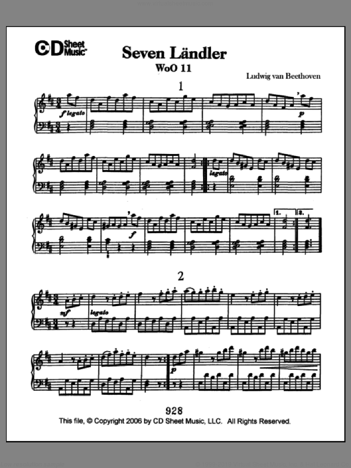 Landler (7), Woo 11 sheet music for piano solo by Ludwig van Beethoven. Score Image Preview.