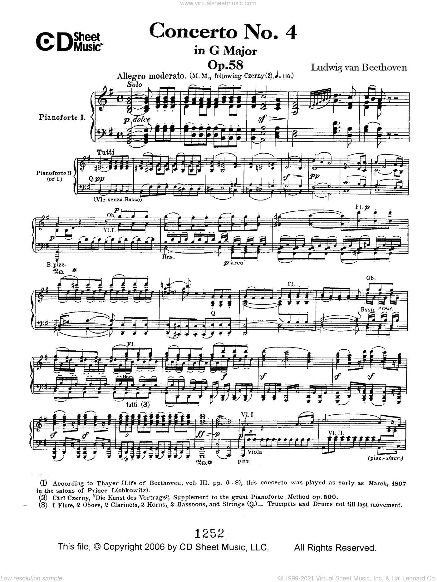 Concerto No. 4 In G Major, Op. 58 sheet music for piano solo by Ludwig van Beethoven