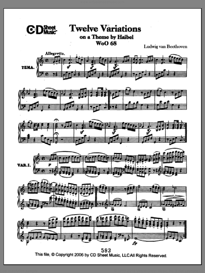 Variations (12) On A Theme By Haibel, Woo 68 sheet music for piano solo by Ludwig van Beethoven, classical score, intermediate piano. Score Image Preview.